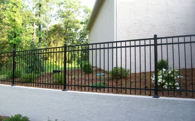 4' Majestic 3 rail on retaining wall