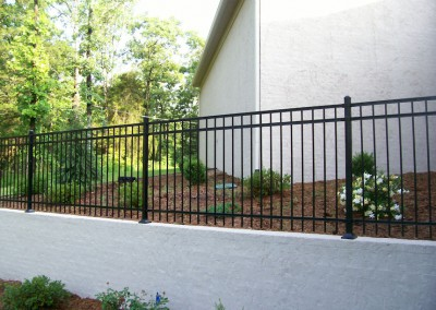 4' Majestic 3 rail on retaining wall