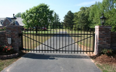Custom single swing gate arched